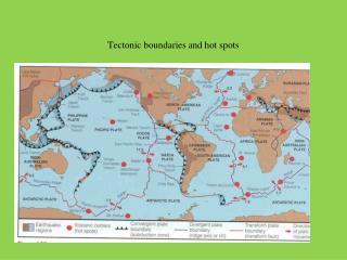 Tectonic boundaries and hot spots