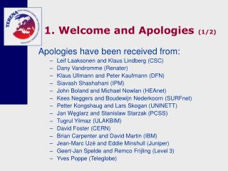 1. Welcome and Apologies (1/2)