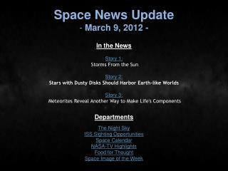 Space News Update  March 9, 2012 -