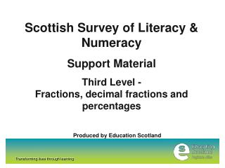 Scottish Survey of Literacy & Numeracy Support Material