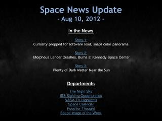 Space News Update - Aug 10, 2012 -