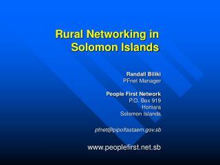 Rural Networking in Solomon Islands
