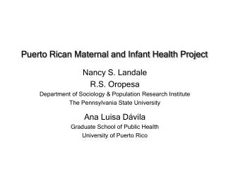 Puerto Rican Maternal and Infant Health Project