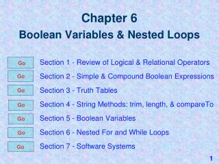 Chapter 6 Boolean Variables & Nested Loops