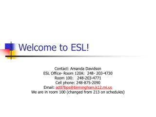 Welcome to ESL!
