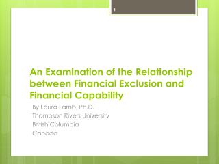 An Examination of the Relationship between Financial Exclusion and Financial Capability
