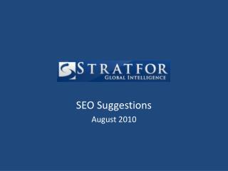 SEO Suggestions August 2010