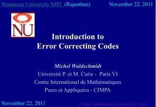 Introduction to  Error Correcting Codes