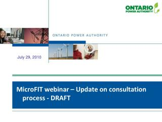 MicroFIT webinar – Update on consultation process - DRAFT
