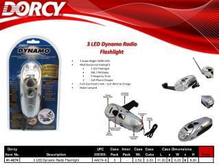 3 LED Dynamo Radio Flashlight 3 Super Bright 5MM LEDs Multifunctional Flashlight: