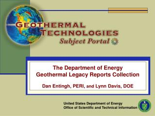 The Department of Energy Geothermal Legacy Reports Collection