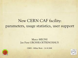 New CERN CAF facility: parameters, usage statistics, user support