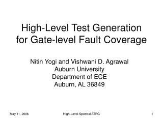 High-Level Test Generation for Gate-level Fault Coverage
