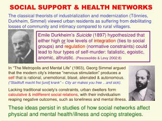 SOCIAL SUPPORT & HEALTH NETWORKS