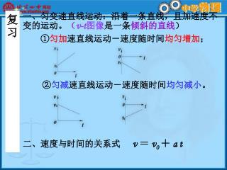 一、匀变速直线运动: 沿着一条直线,且加速度不变的运动。 ( v-t 图像 是一条 倾斜的直线 ) ① 匀加 速直线运动-速度随时间 均匀增加 ;