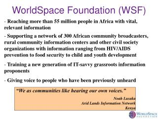 WorldSpace Foundation (WSF)