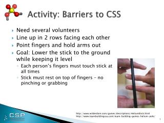 Activity: Barriers to CSS