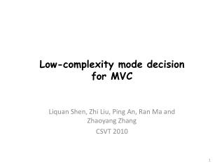 Low-complexity mode decision  for MVC