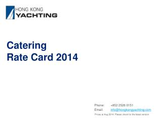Catering Rate Card 2014