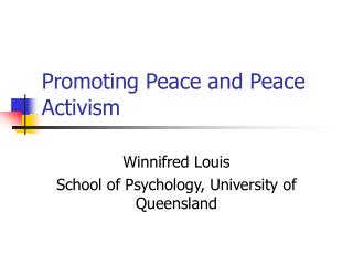 Promoting Peace and Peace Activism