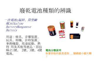 廢乾電池種類的辨識