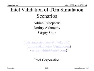 Intel Validation of TGn Simulation Scenarios