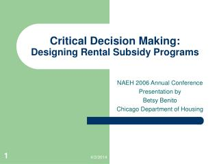 Critical Decision Making:  Designing Rental Subsidy Programs