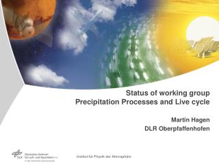 Status of working group Precipitation Processes and Live cycle Martin Hagen DLR Oberpfaffenhofen