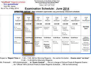 """Unofficial""  Regents schedule …  ""Best  guesstimate ""       from Mr. Joyce As of Thu. 8 May 2014"