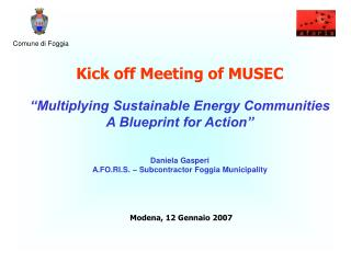 "Kick off Meeting of MUSEC ""Multiplying Sustainable Energy Communities  A Blueprint for Action"""