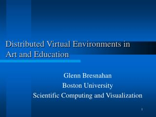 Distributed Virtual Environments in Art and Education