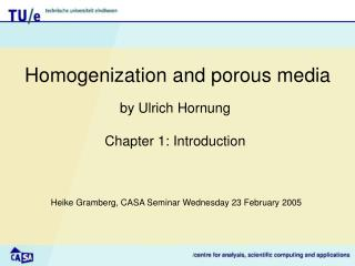 Homogenization and porous media