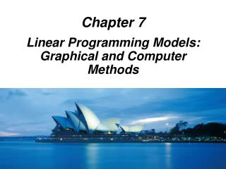 Linear Programming Models: Graphical and Computer Methods