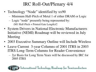 IRC Roll-Out/Plenary 4/4