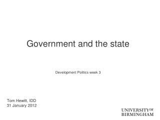 Government and the state Development Politics week 3