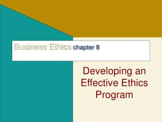 Business Ethics chapter 8
