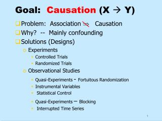Goal:   Causation  (X   Y)