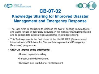 CB-07-02 Knowledge Sharing for Improved Disaster Management and Emergency Response