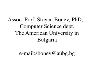 American University in Bulgaria Computer Science dept