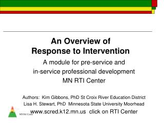 An Overview of  Response to Intervention