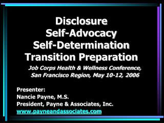 Disclosure Self-Advocacy Self-Determination Transition Preparation