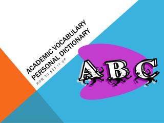 ACADEMIC VOCABULARY PERSONAL DICTIONARY