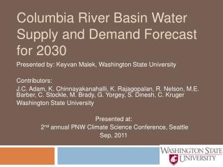 Columbia River Basin Water Supply and Demand Forecast for 2030