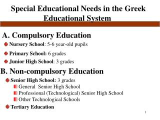Special Educational Needs in the Greek Educational System