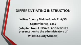 DIFFERENTIATING INSTRUCTION