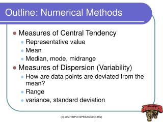 Outline: Numerical Methods