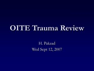 OITE Trauma Review