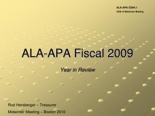 ALA-APA Fiscal 2009