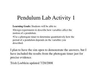 Pendulum Lab Activity 1