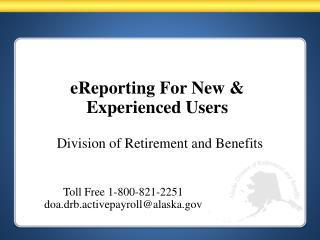eReporting For New & Experienced Users